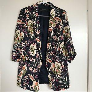 ZARA / Dark Navy Floral Print Blazer S